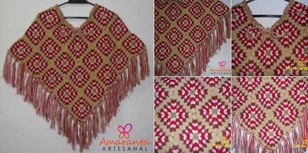 Ruana / Chal de Carpetitas Crochet | Amaranta Artesanal